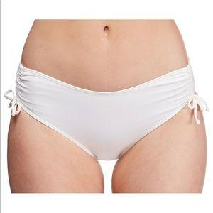 New Women's Off White Ruched Bikini Bottom Size 10